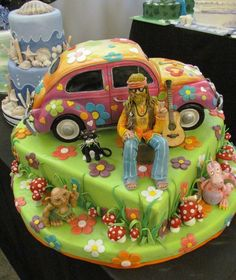 hippy cake with VW bug
