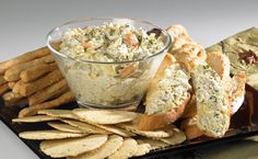 Hot Crab and Artichoke (or hot BLT dip) Dip - serve with crackers or baguette for a delicious cold weather appy! Epicure Recipes, Dip Recipes, Clean Recipes, Yummy Recipes, Healthy Recipes, Food N, Good Food, Yummy Food, Crab And Artichoke Dip