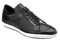 "Belvedere ""Oscar"" Black Genuine Snake / Soft Calf Casual Sneakers"