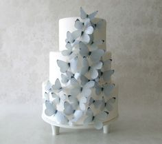 CAKE TOPPER - 30 Gray Edible Butterflies - Cake Decorations - Winter Wedding