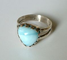 Larimar and Sterling Silver Ring by ajjewelrydesigns on Etsy, $45.00