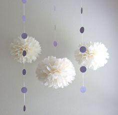 Glittered Lavender Garlands  PomPom by PrettywithSprinkles on Etsy, $12.00