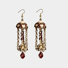 Red Jhumki with Pearl Drops  http://www.tadpolestore.com/haya #India #Indian #designer #jewelry #party #accessories #earrings #accessories #women #weddings #jhumki #jhumka #pearl #weddings #haya