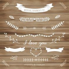 Weiße Hochzeit Ornament der Blätter Sammlung Kostenlose Vektoren