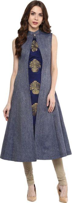 smartshop Women's Denim A-Line Kurta Dress Indian Style, Indian Dresses, Indian Outfits, Kurti With Jacket, A Line Long Dress, Indian Tunic Tops, A Line Kurta, Kurti Neck Designs, India Fashion