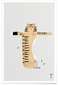 ABC Kids - T by typealive as Poster Poster Online, Abc For Kids, Shops, Illustrators, Animals, Tiger, Medium, Designs, Greeting Card