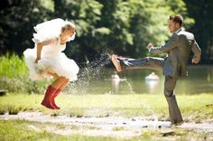 Those satin pumps aren't going to look good once you trudge through a wet and muddy field or forest. For your wedding photos, switch out your bridal heels for some fun rain boots. Want to take the cuteness up a notch? Get matching pairs and start looking for puddles.