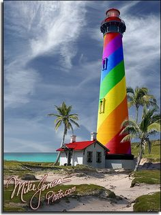 Rainbow Lighthouse- I would love a light like this!!  photoshopped by Mike Jones Photos-  The lighthouse is St Augustine Lighthouse in Florida. The foreground, background, sky, and palm trees are from various different places.