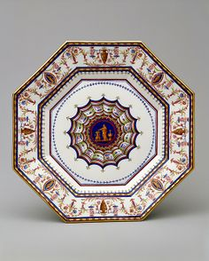 """*1783-1785 French Sèvres Plate at the Metropolitan Museum of Art, New York - From the curators' comments: """"This plate is from a remarkable service that reflected the most up-to-date Neoclassicism of the late eighteenth century. The shapes and the decoration were commissioned from the architect Louis le Masson who was instructed that the service should represent """"the most rigorous antique taste."""""""""""