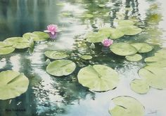Watercolor - Water Lilies by Abe Toshiyuki - __ Watercolor Water, Watercolor Artists, Watercolor Landscape, Landscape Art, Watercolor Flowers, Landscape Paintings, Watercolor Paintings, Watercolors, Japan Watercolor