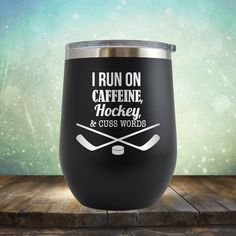 Hockey, Caffeine, and Cuss Words Wine 12 oz Engraved Tumbler Cup Glass Stemless Gift Hockey Player, Hockey Coach, Hockey Mom, Ice Hockey, Kings Hockey, Hockey Stuff, Hockey Tournaments, Hockey Players, Hockey Crafts, Perfect Gift For Girlfriend