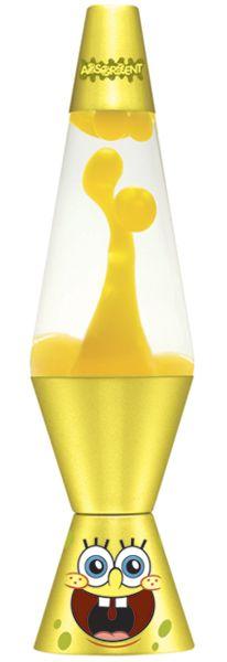 "14.5"" Sponge Bob Square Pants Lava Lamp- Yellow wax/ Clear Liquid $29.99"