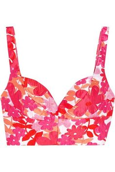 Michael Kors Collection - Floral-jacquard Bustier Top - Bright pink - US10