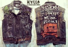 Custom Made Custom Vest Rock Metal Punk Stage Rockstar Leather Denim