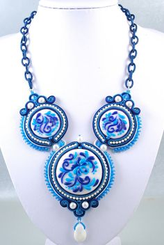 Soutache Gzhel Imitation Necklace Blue White Polymer Clay