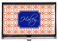 Personalized Business Card Case Monogrammed Card Holder Orange and Blue Graduate Gift SWAMP CHOMP by GamedayGirlDesigns on Etsy