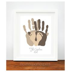 Gift for New Dad - Personalized Family Portrait - First Father's Day Gift - Baby Footprint Hand Print Art Print - Unique Family Portrait