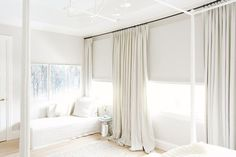 All-white bedroom with canopy beds, curtains, and big windows Bedroom Color Schemes, Bedroom Colors, Lux Bedroom, Bedroom Ideas, Neutral Bedrooms, Curtains With Blinds, Blinds For Windows, Big Windows, White Curtains