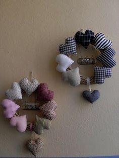 Stuffed Fabric Heart Wreath - SMALL HEARTS, BRIGHT COLORS or BRIGHT PURPLES