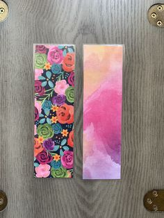 Flower theme bookmarks. Double-sided, laminated.  Some patterns available in two sizes. Bookmark Ideas, Bookmark Craft, Color Magic, Book Marks, Nature Aesthetic, Pretty Designs, Art Journals, Craft Fairs, Business Ideas