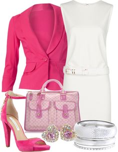 """Bangles in Pink & White"" by gangdise on Polyvore  Looks like an outfit Lisa Vanderpump might like. I love her and pink!"