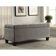 @Overstock - Grey Carmen Shoe Storage Ottoman - The Carmen Grey Shoe Storage Ottoman is perfect for placing in a large closet, entry or at the foot of a bed. The grey microfiber upholstery allows this piece to easily complement any decor style and color scheme.  http://www.overstock.com/Home-Garden/Grey-Carmen-Shoe-Storage-Ottoman/9303658/product.html?CID=214117 $154.99