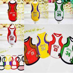 Summer Pet Dog Cat Mesh Basketball Vest Clothes Apparel T Shirt Costume Jersey
