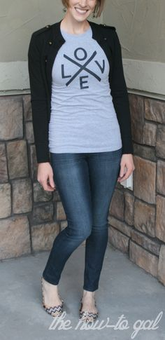 LOVE shirt made with the Cricut Mini by How-to Gal!