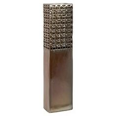 "Ceramic vase with latticework detailing.  Product: VaseConstruction Material: CeramicColor: BronzeDimensions: 25.5"" H x 5.5"" W x 3.5"" D"