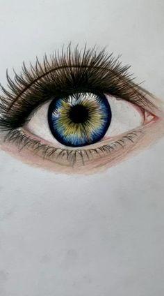 Art Drawings Sketches Simple, Pencil Art Drawings, Colorful Drawings, Drawings With Colored Pencils, Eye Pencil Drawing, Realistic Pencil Drawings, Eye Drawings, Color Pencil Sketch, Colored Pencil Techniques