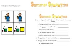 Speech Time Fun: Summer Synonyms!  Free downloads!  Synonyms cards and worksheet!