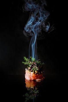 """Smoked Veal Tatar with Lumpfish Caviar, Horserradish, Spunce and Watercress"