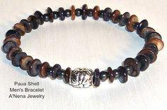Men's Bracelet Paua Shell and Hematite   Faithful by ANenaJewelry, $85.00