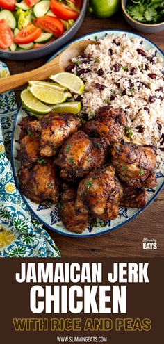 Jamaican Jerk Chicken with Rice and Peas - tender pieces of chicken with a delicious flavoursome blend of spices serve with the perfect side of coconutty white rice with kidney beans. #jerkchicken #chicken #rice #slimmingworld #weightwatchers Jerk Chicken, Chicken Rice, Chicken Meals, Healthy Dinner Recipes, Cooking Recipes, Healthy Foods, Slimming World Chicken Recipes, Slimming Eats, Rice And Peas