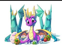 I have so many dragons in my gallery, SO MANY, and I forgot to do a fan art of the king of the dragons in the videogames (no, Bowser King Koopa is a hyb. Spyro the Dragon King Dragon Warrior, Dragon King, Dragon Art, Spyro Characters, Spyro Trilogy, Spyro And Cynder, King Koopa, Spyro The Dragon, Cool Dragons