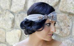 hochzeitsfrisuren kurze haare stirnband stoff knöpfe