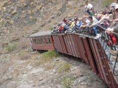 Considered one of the world's best railway engineering feats, this scenic railroad travels over a series of switchbacks as it zigzags down the steep mountainside passing small Andean villages. Quite a long journey, sitting on the roof but worth it. Make sure you put sunscreen cause it gets hot hot hot! Riobamba, Ecuador.
