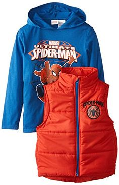 Marvel Boys' Spider-Man Vest and Hoodie Two-Piece Set >>> Click here for more details @