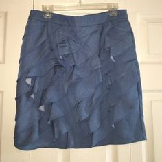 "Ruffles denim pencil skirt Oh so cute! Zips in back, very good condition. The hook and eye in closure is missing the ""eye"" but this is not noticeable and price reflects. True size 10. New York & Company Skirts Pencil"