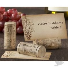 """""""Maison du Vin"""" Wine Cork Place Card/Photo Holder with Grape-Themed Place Cards (Set of 4)"""