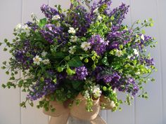 Summer wreath, lilac wreath, front door wreath, door wreath, wreath, purple wreath, outdoor wreath, flower pail