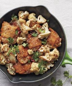 Crispy Chicken Thighs With Cauliflower and Cilantro (5 ingredients not including salt and pepper, and olive oil for browning)