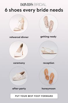 With so many types of events surrounding your wedding, here are 6 shoes every bride needs. From the rehearsal dinner shoes to the ceremony, and even the honeymoon, these shoe styles will get you through your entire wedding. Wedding Planning Tips, Wedding Tips, Wedding Bride, Wedding Ceremony, Our Wedding, Dream Wedding, Trendy Wedding, Ceremony Programs, Wedding Outfits