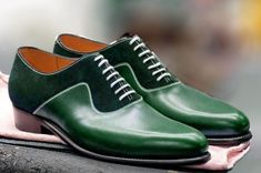 Handmade Men Green color formal shoes, Men green dress shoes, Men leather shoes Upper Genuine leather and Suede Lining Soft leather Sole genuine Leather Heel Genuine leather Lace up closure Manufacturing time 10 days Handmade Leather Shoes, Leather And Lace, Leather Men, Green Leather, Suede Leather, Green Suede, Suede Shoes, Lace Up Shoes, Green Dress Shoes