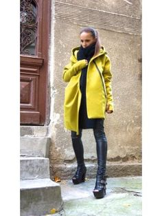 Quilted Asymmetric Extravagant Hooded Coat A07337 #coat #mustard #Aakasha #asymmetric #elegant #extravagant #stylish