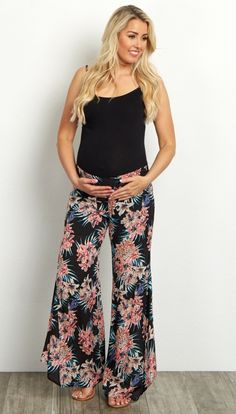 These gorgeous floral maternity pants are the perfect transition piece into Spring. A flare cut and lightweight fabric are sure to keep you cool when the weather is warm, while an elastic waistband accommodates your growing bump. Style these with a basic maternity tank and sandals for a beach ready ensemble.