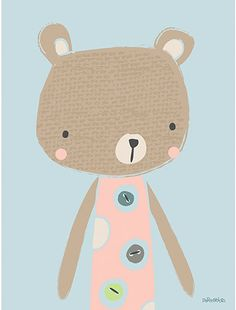 Tableau Douchka by Paper & Cloth x 40 cm) - Lilipinso Illustration Mignonne, Bear Illustration, Illustrator, Art Mignon, Baby Posters, Baby Art, Cute Characters, Baby Decor, Nursery Art