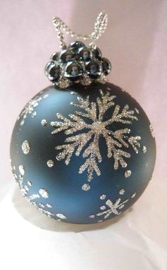 Snowflake Glass Ornament - Some glitter paint, and a bit of imagination can go a long way