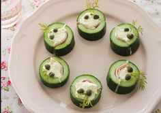 Fun and healthy cucumber laughing heads