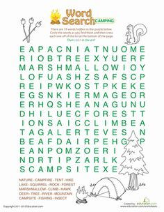 Third Grade Puzzles & Sudoku Vocabulary Worksheets: Word Search: Camping Worksheet